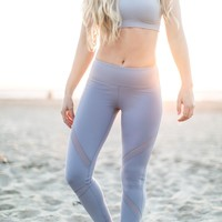 Roxy Active Periwinkle Mesh Detail Leggings