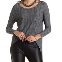 High-Low Ribbed Pullover by Charlotte Russe