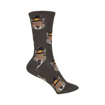 Pilgrim Squirrels Crew Socks in Brown