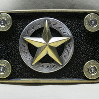 The Lawman 30-30 Winchester Bullet Belt Buckle Texas Star Cowboy Western Style