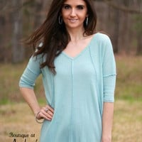 Light Aqua Waffle Texture Tunic Top with Exposed Seam Detail by Cherish