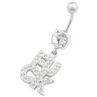 Naughty Names & Words Dangle Clear Crystal Belly Button Ring For Girls [Gauge: 14G - 1.6mm / Length: 10mm] 316L Surgical Steel & Crystal