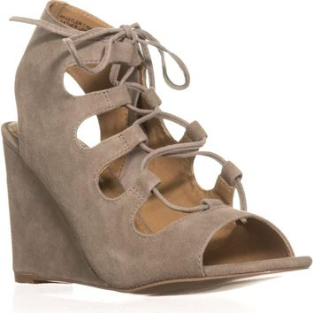 Steve Madden Whistler Peep-Toe Wedge Pumps, Taupe Suede, 8 US
