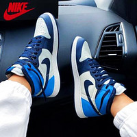 NIKE AIR JORDAN 1 MID AJ 1 high-top colorblock sneakers Shoes Blue&White