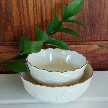 Lenox Rose Bowl, Vintage Lenox, Lenox, Lenox Nesting Bowls, Nesting Bowls, Vintage, Raised Porcelain Bowl, Wedding Bowl, Gifts For Her