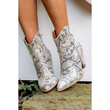 Cosette Snake Print High Ankle Booties