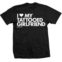 "Unisex ""I Heart My Tattooed Girlfriend"" Tee by Dpcted Apparel (Black)"