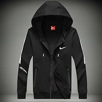 Nike Trending Women Men Casual Embroidery Print Hooded Zipper Cardigan Sweatshirt Jacket Coat Windbreaker Sportswear Black