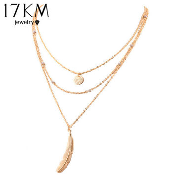 2015 collier boho Jewelry Fashion Multi Layer Necklace Big Feather Round sequins Charm Pendant necklace For Women