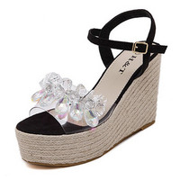 WOMEN'S SHOES BEADED CLEAR THICK MUFFIN SANDALS BOHEMIAN HIGH HEEL PLATFORM WEDGE SANDALS CANE FISHERMAN SHOES RHINETONE PUMPS