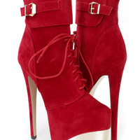 Red Lace Up Platform High Heel Booties Faux Suede