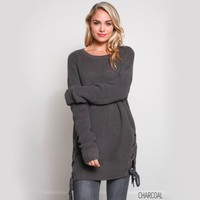 no bad days side grommet sweater - charcoal