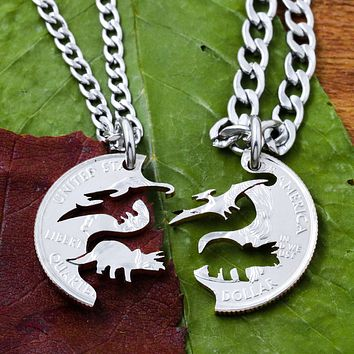 Pterodactyl and Triceratops, Dinosaur BFF Jewelry
