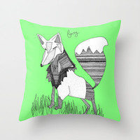 Green Fox Throw Pillow - Double Sided Throw Pillow - Faux Down Insert - Illustrated Pillow Cover