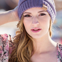Slouchy Knit CC Beanie ( New Lavender)