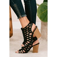 Step Into Style Braided Cage Heeled Sandals (Black Distressed)