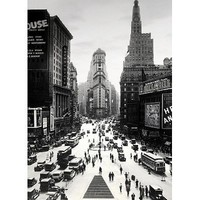 Times Square-New York City-Vintage Black and White, Photography Poster Print, 24 by 36-Inch