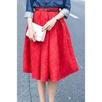 Retro Style High-Waisted Embossed A-Line Skirt For Women