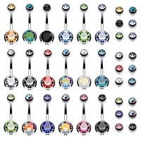 18PC Belly Button Rings 14G Surgical Steel CZ Girl Women Navel 18 Replacement Balls Pack