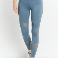 Mesh Cutout High Waisted Leggings - Ocean