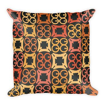 African pattern pillow with orange and yellow Adinkra symbol prints - Square Pillow