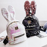Cute Fashion Sequin Rabbit Ears Mini Backpack Women Personality Double Shoulder Bag