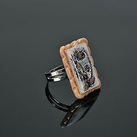 Ring Made of Polymer Clay with a picture of an owl handmade adornment for women