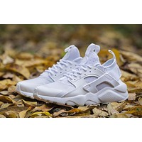Nike Air Huarache 4 Run Rainbow Ultra Breathe Women Men All White Running Sport Casual Shoes Sneakers - 936