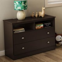 Modern 2-Drawer Bedroom Storage Chest TV Stand in Chocolate