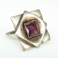 Sterling Modernist Ring Amethyst Glass Square Artisan Silver Vintage Jewelry