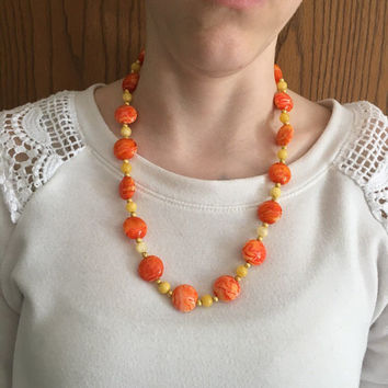 Orange Beaded Necklace, Lampwork Glass Necklace, Fall Necklace, Yellow Necklace, Gold Beaded Necklace, 21 Inch