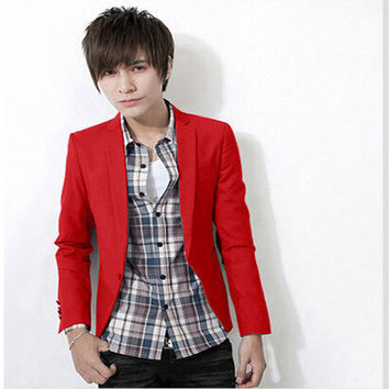 Free Shipping! 2014 New Fashion Men suit Slim Fit blazer coat jackets Shirt Stylish Cotton Solid 8 Colors