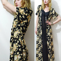 90s vintage BLACK FLORAL Dress SHEER Tieup front by cruxandcrow