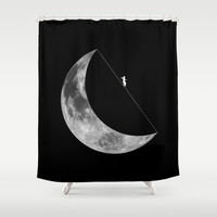 Moon walker Shower Curtain by Tony Vazquez