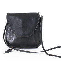 Vintage Coach Purse Saddle Bag 1970s Made in the USA Black Leather Carryall