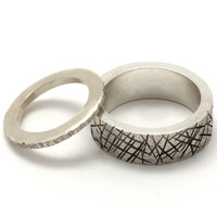 925 sterling Silver wedding ring set - Bride and groom silver wedding band - Hers and his silver wedding ring set