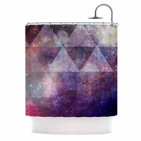 "Suzanne Carter ""Geometric stars"" Purple Black Shower Curtain"