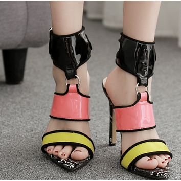 Hot style one-word buckle with open toe, thin heel and ultra high heel sandals shoes