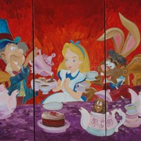 View: Alice in Wonderland 120x180x4 cm Mad tea party Large paintings for the daughters room painting F143 XXXL PAINTINGS OOAK red violet purple decor original big art ready to hang painting acrylic on stretched canvas wall art by artist Ksavera | Artfinder