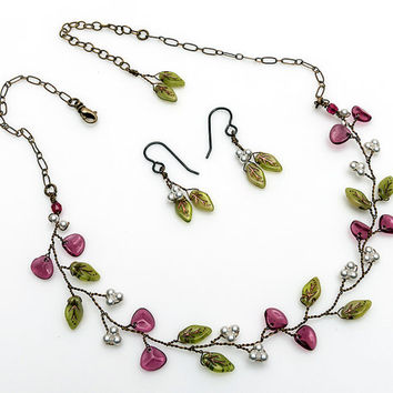 Pink and Green Beaded Necklace Set with Earrings, Vine Necklace, Nature Jewelry, Bridal Necklace, Wedding Jewelry, Leaf Necklace,  N524