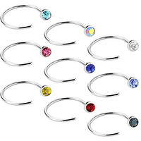 Value Pack Assorted Stainless Steel Body Jewelry Piercing Nose Hoop Ring, Various Guage, Unisex