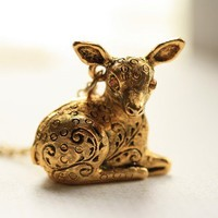 Deer Fawn Locket Necklace, Secret Compartment Pendant, Long Gold Chain, Pill Carrier, Animal Jewelry, Sheep