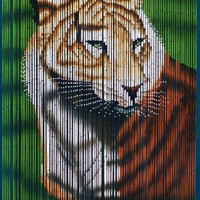 Bamboo door curtain with tiger