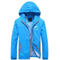 Nike Women Men Cardigan Jacket Coat Windbreaker Blue