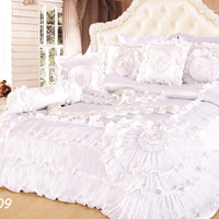 Tache 6 Piece Faux Sateen Royal Wedding Chamber in White Comforter Set King Size