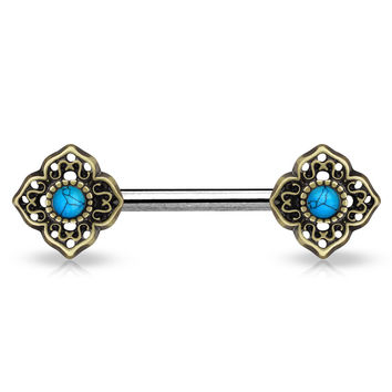 Turquoise Centered Tribal Flower Ends Single 316L Surgical Steel Nipple Barbell Antique Gold