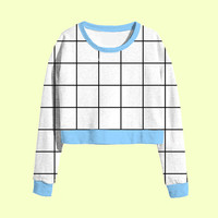 contrast grid cropped sweatshirt | plus size kawaii harajuku 90s pastel goth cyber grunge punk hipster crop top aesthetic tumblr