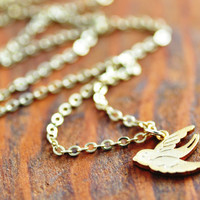 Gold Bird Necklace - 14k gold filled, gold sparrow necklace, flying bird necklace, gold bird pendant, bridesmaid necklace