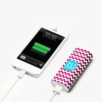Light Magenta Chevron Monogram Portable Power Bank Battery Charger for iPhone and Samsung