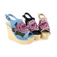 Woobery17 Large Floral Patch On Wooden Platform Wedge Sandal, Metal Bolted Detail